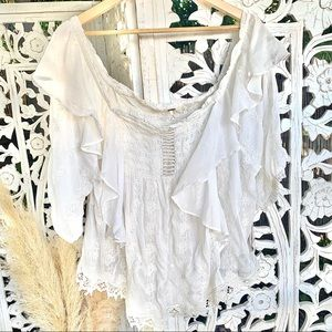 Free people tunic embroidered butterfly sleeve NWT